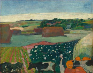 Paul Gauguin Werke - Haystacks in Brittany Post Impressionismus Primitivismus Paul Gauguin