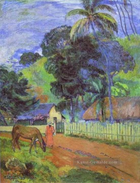 Paul Gauguin Werke - Pferd on Road Tahitian Landschaft Post Impressionismus Primitivismus Paul Gauguin