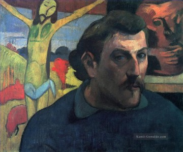 Paul Gauguin Werke - Self Porträt with Yellow Christ Post Impressionismus Primitivismus Paul Gauguin