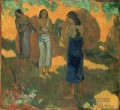 Three Tahitian Women Against a Yellow Background Post Impressionismus Primitivismus Paul Gauguin
