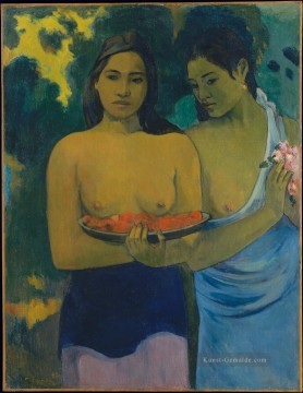 Paul Gauguin Werke - Two Tahitian Women with Mango Blossoms Post Impressionismus Primitivismus Paul Gauguin