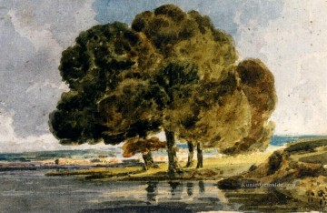 Bäume am Flussufer Aquarelle Maler Landschaft Thomas Girtin