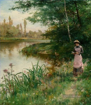 the annunciation 1785 Ölbilder verkaufen - A Walk by the River Alfred Glendening JR Landschaft