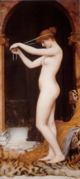 Venus Bindung Her Hair Dame Nacktheit John William Godward Ölgemälde
