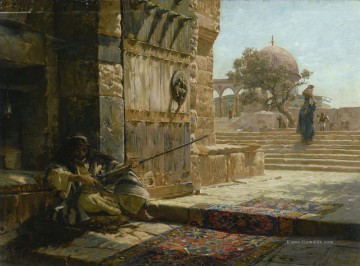 the annunciation 1785 Ölbilder verkaufen - SENTINEL AT THE ENTRANCE TO THE TEMPLE MOUNT JERUSALEM Bauernfeind Orientalist
