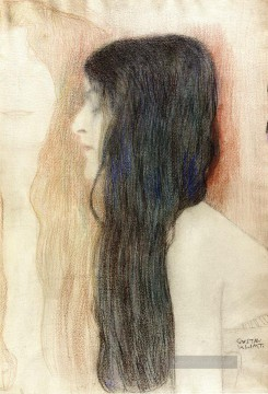 Gustave Klimt Werke - Girl with Long Hair with a sketch for Nude Veritas Gustav Klimt