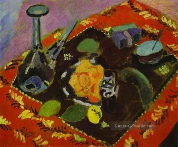 Henri Matisse Werke - Dishes and Fruit on a Red and Black Carpet 1906 Modernismus Henri Matisse