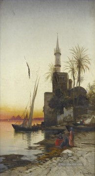 Hermann David Salomon Corrodi Werke - Am Ufer der Nil 1 Hermann David Salomon Corrodi orientalische Kulisse