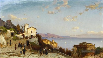 Hermann David Salomon Corrodi Werke - villaggio di montagna sulla costa ligure Hermann David Salomon Corrodi orientalische Kulisse