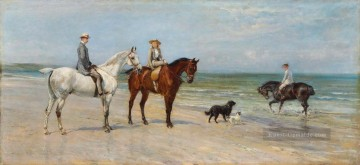 Reiten Ölgemälde - The Leney Family Out Riding With Two Dogs On The Kentish Coast Heywood Hardy riding