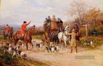 Hardy Ölgemälde - A Narrow Miss at the Crossroads Heywood Hardy riding