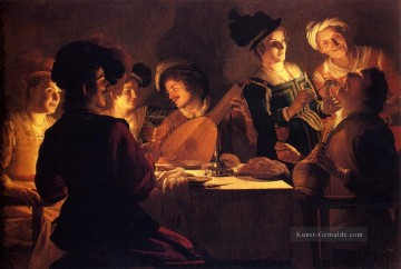 Supper With The Minstrel And His Lute nighttime candlelit Gerard van Honthorst