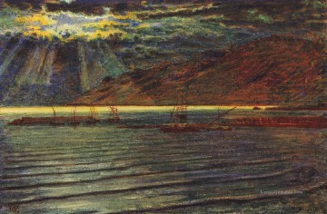 Hunt Ölbilder - Fishingboats von Moonlight britischen William Holman Hunt