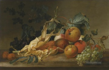 Stillleben VON BLACKBERRIES GRAPES APPLES SWEETCORN UND WO WALNUTS Jan van Huysum Ölgemälde