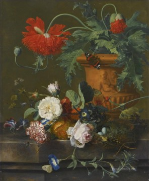 life Malerei - A Stillleben OF POPPIES IN A TERRACOTTA VASE ROSES A CARNATION AND OTHER FLOWERS Jan van Huysum
