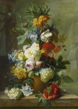 Stillleben OF FLOWERS IN A VASE ON A MARBLE LEDGE Jan van Huysum Ölgemälde