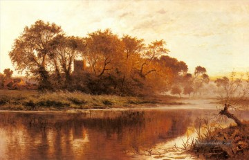 Thames Künstler - The Last Gleam Wargrave on Thames Benjamin Williams Leader