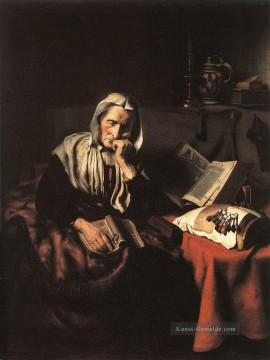 Old Woman Dozing Barock Nicolaes Maes