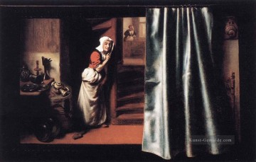 Eavesdropper with a Scolding Woman Barock Nicolaes Maes Ölgemälde