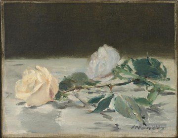 Édouard Manet Werke - Two Roses On A Tablecloth Blume Impressionismus Edouard Manet