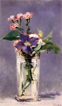 Édouard Manet Werke - Pinks and Clematis in a Crystal Vase Eduard Manet