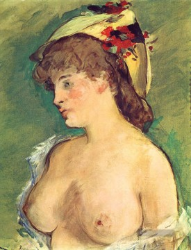 Édouard Manet Werke - Blond Woman with Bare Breasts Nacktheit Impressionismus Edouard Manet