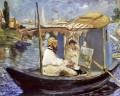 Claude Monet Working on his Boat in Argenteuil Realismus Impressionismus Edouard Manet