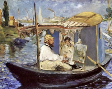 Édouard Manet Werke - Claude Monet Working on his Boat in Argenteuil Realismus Impressionismus Edouard Manet