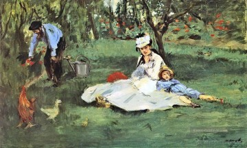 Édouard Manet Werke - The Monet family in their garden at Argenteuil 2 Eduard Manet