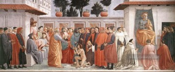 Raising of the Son of Theophilus and St Peter Enthroned Christentum Quattrocento Renaissance Masaccio Ölgemälde
