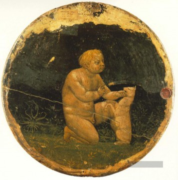Putto and a Small hund back side of the Berlin Tondo Christentum Quattrocento Renaissance Masaccio Ölgemälde