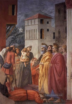 The Distribution of Alms and the Death of Ananias Christentum Quattrocento Renaissance Masaccio Ölgemälde