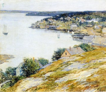 Boot Ölgemälde - East Boothbay Harbor Szenerie Willard Leroy Metcalf