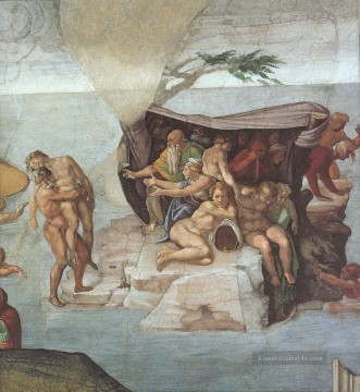 Sistine Chapel Ceiling Genesis Noah 79 The Flood right view Hochrenaissance Michelangelo Ölgemälde