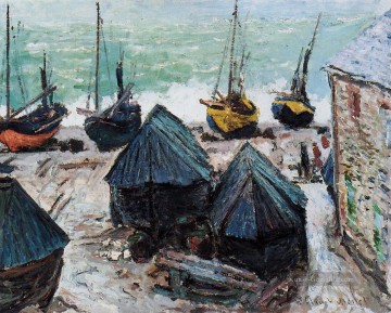Claude Monet Gemälde - Boats on the Strand Etretat Claude Monet