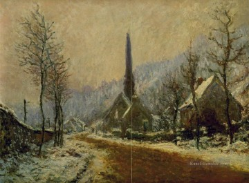 Claude Monet Gemälde - Church at Jeufosse Snowy Weather Claude Monet