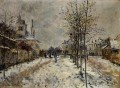 The Boulevard de Pontoise at Argenteuil Snow Effect Claude Monet