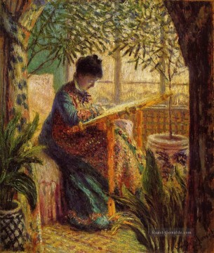 Camille Embroidering Claude Monet