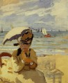 Camille Sitting on the Strand at Trouville Claude Monet