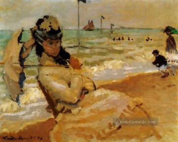Camille on the Strand at Trouville Claude Monet