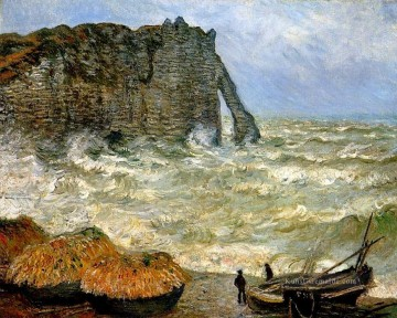 Etretat Rough Sea Claude Monet Ölgemälde