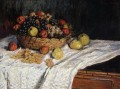 Fruit Basket with Apples and Grapes Claude Monet