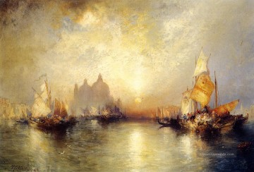 Entrance to the Grand Canal Venedig 2 Seestück Boot Thomas Moran