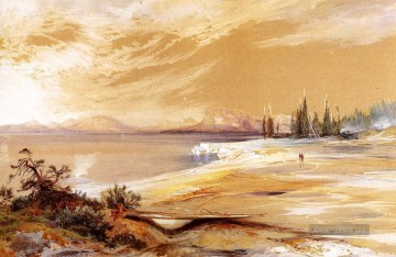 Shore Kunst - Hot Springs am Ufer des Yellowstone See Rocky Berge Schule Thomas Moran