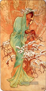 Winter Galerie - Winter 1896panel Tschechisch Jugendstil Alphonse Mucha