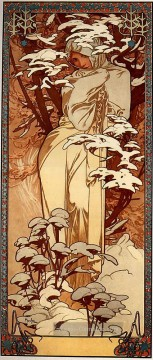 Winter Galerie - Winter 1897 Panel Tschechisch Jugendstil Alphonse Mucha