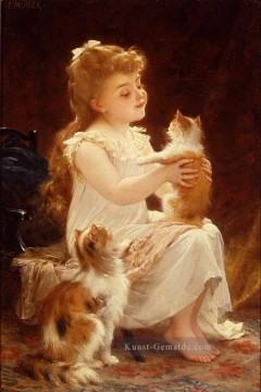 playing with the kitten Akademischer Realismus Mädchen Emile Munier
