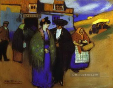 Pablo Picasso Werke - A Spanish Couple in front of an Inn 1900 Pablo Picasso