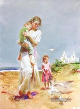 Kinder Malerei - Pino Daeni Mutter und Kinder