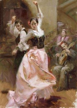 dancing in barcelona lady painter Pino Daeni